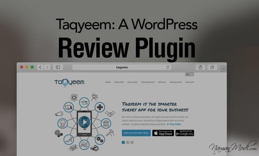 Taqyeem: A WordPress Review Plugin