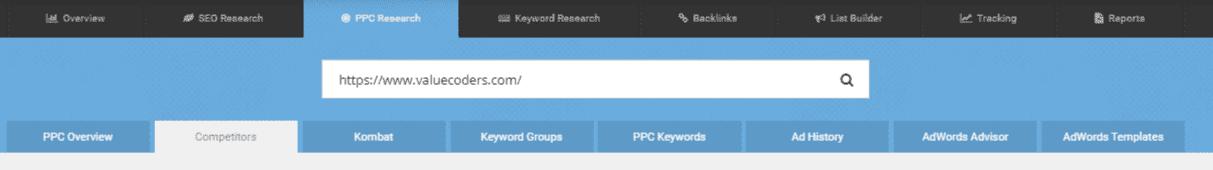 SpyFu- Search competitor website