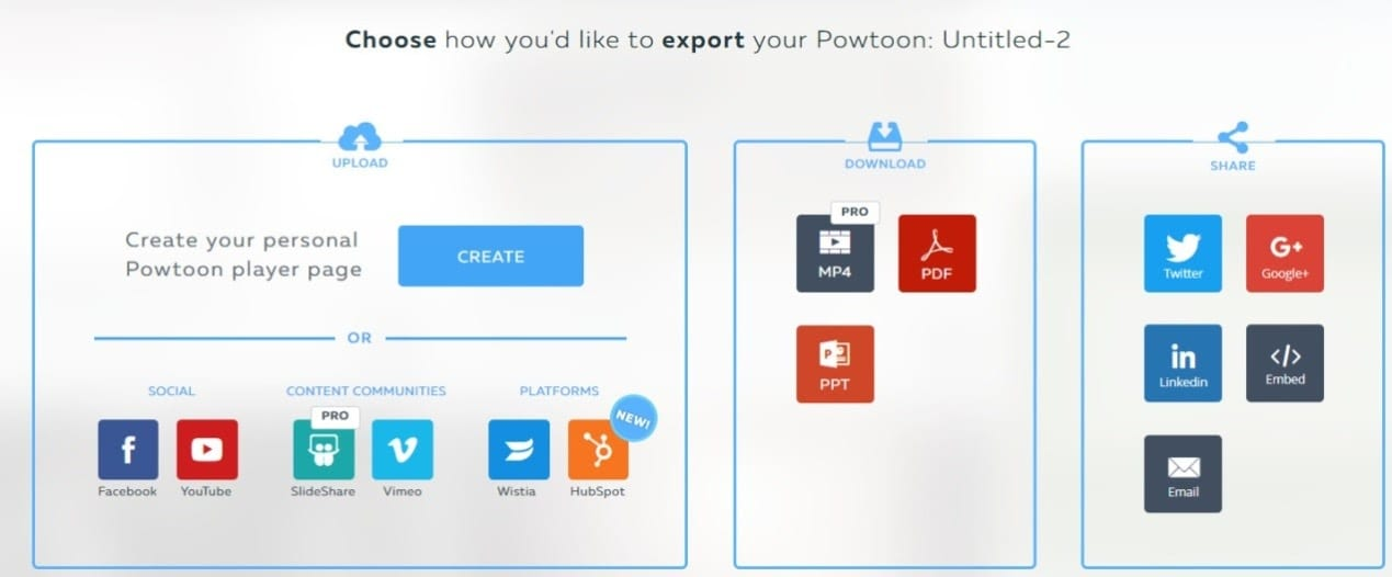 Powtoon- Export and share